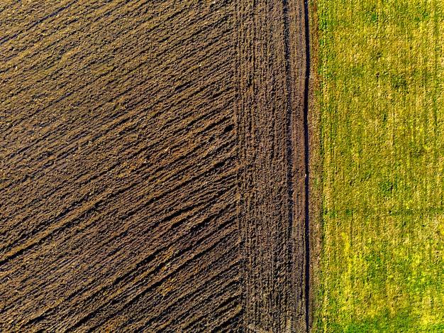 Vista superiore aerea di terreno agricolo coltivato e prato verde nel giorno di molla soleggiato