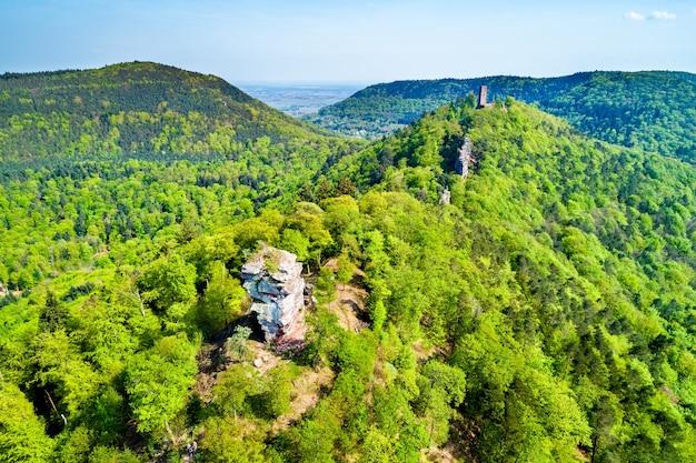 Veduta aerea dei castelli di anebos e scharfenberg nella foresta del palatinato. grande attrazione turistica nello stato tedesco della renania-palatinato