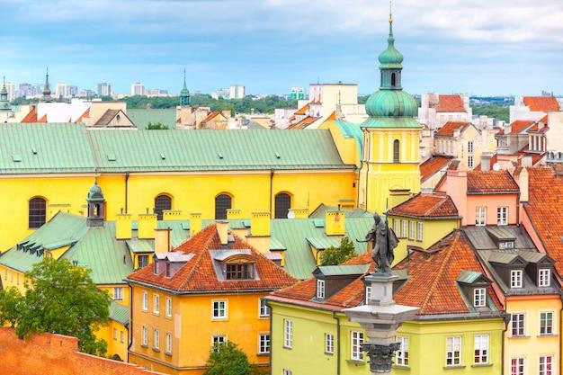 Vista aerea del quadrato del castello a varsavia, polonia.