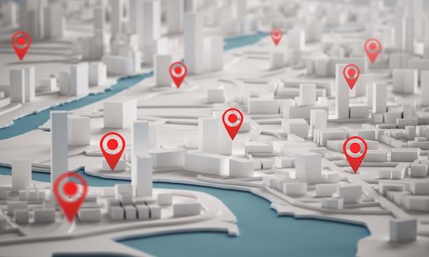 Vista aerea della rappresentazione delle costruzioni 3d della città con la mappa di punto rossa