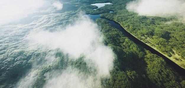 Vista aerea di una fitta foresta pluviale amazzonica con fiume. rendering 3d.