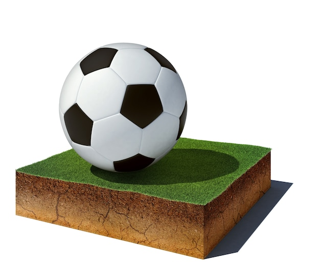 Cubo di sporco vista aerea con pallone da calcio
