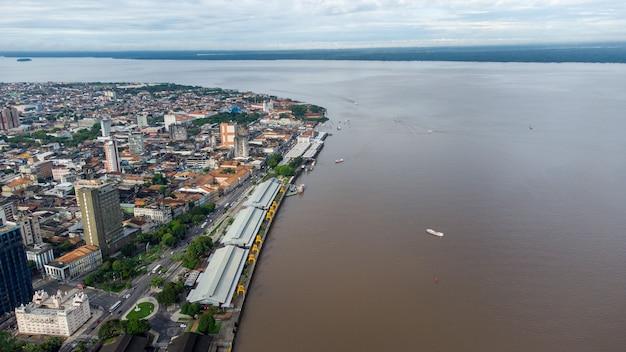 Vista aerea di estaã§ã£o das docas a belã©m, parã¡, brasile.