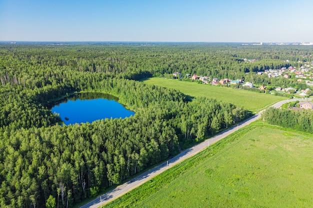 Vista aerea da un drone di un lago in una foresta