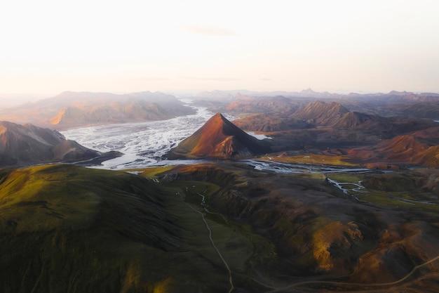Vista aerea dell'altopiano in islanda