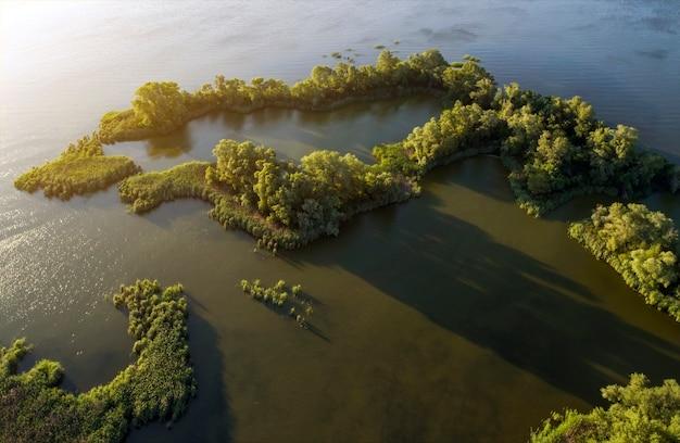 Vista aerea della zona del lago con vegetazione