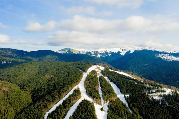 Vista aerea del paesaggio delle piste da sci e snowboard attraverso i pini che scendono verso la stazione invernale in carpazi
