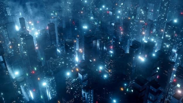 Veduta aerea della grande città di notte