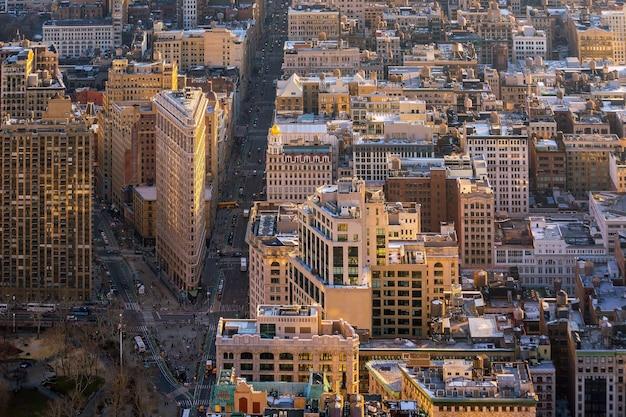 Vista aerea dello skyline di manhattan, new york city negli stati uniti