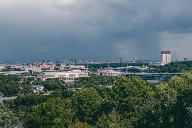 Vista aerea della città di mosca. centro di mosca. accademia delle scienze Foto Premium