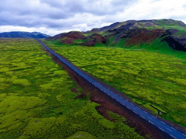 Vista aerea del giacimento di lava muscoso in islanda.