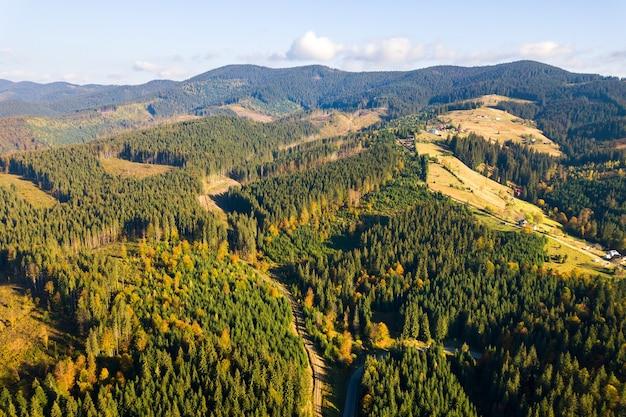 Vista aerea della foresta di montagna con aree di deforestazione nude di alberi abbattuti.