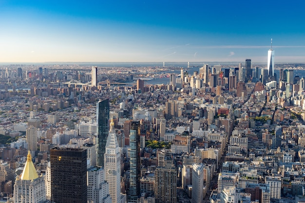 Vista aerea della skyline di new york city, manhattan, new york