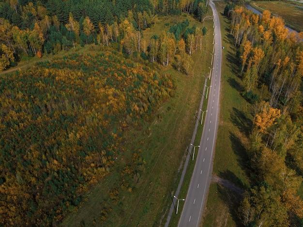 Vista aerea della strada nella bellissima foresta di altai autunno