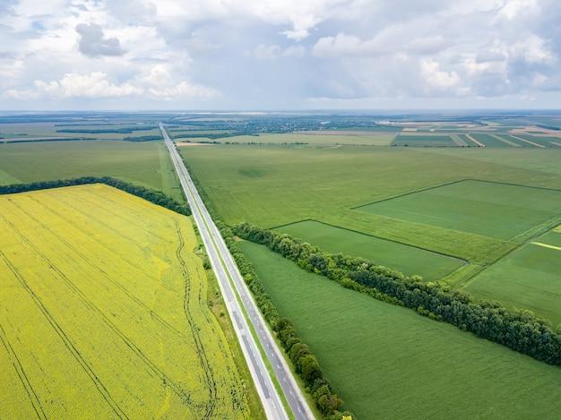 Vista aerea della strada attraverso un bellissimo campo verde la sera in estate. bellissimo paesaggio con alberi di speedway, verdi campi agricoli. vista dall'alto dal drone volante.