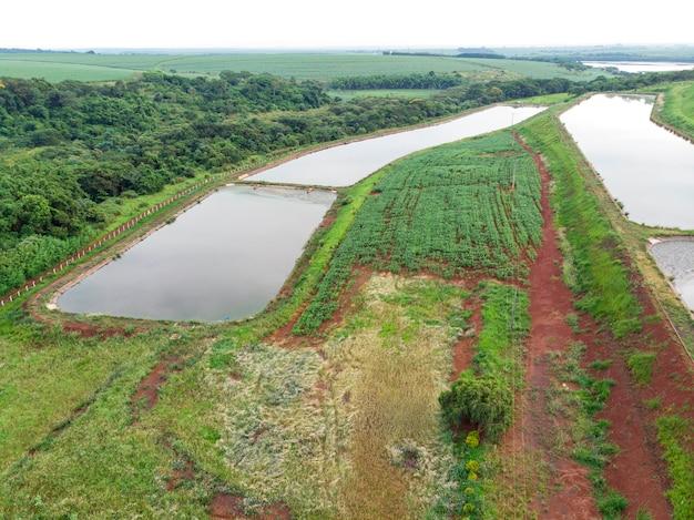 Vista aerea dell'impianto di trattamento delle acque reflue.