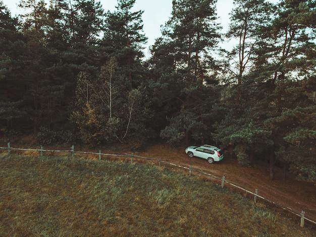 Vista aerea dell'auto suv vicino al recinto della fattoria