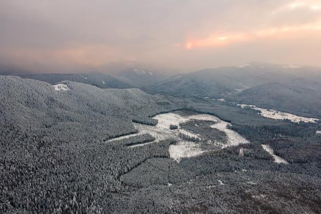 Vista aerea del paesaggio invernale con colline di montagna ricoperte da una foresta di pini sempreverdi dopo abbondanti nevicate in una fredda e tranquilla sera.