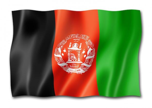 Bandiera afgana isolata su bianco
