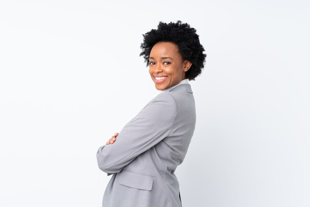 Risata isolata donna afroamericana di affari