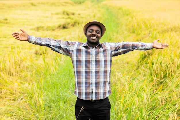 Agricoltore africano in piedi nel campo di riso biologico con sorriso e felice. concetto di agricoltura o coltivazione
