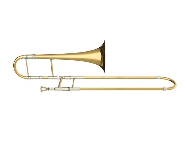 Trombone invecchiato isolato su bianco