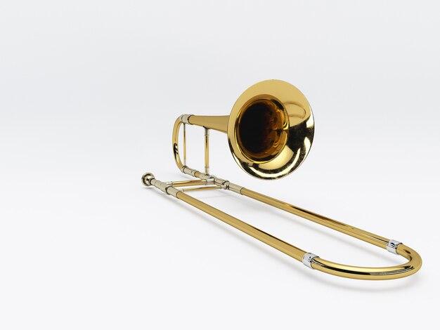 Trombone invecchiato su bianco