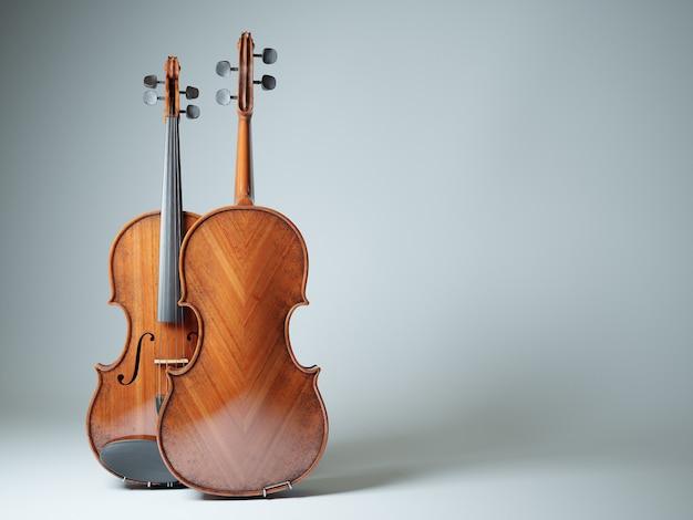 Rappresentazione isolata 3d violino invecchiato