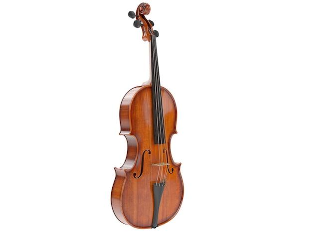 Violino invecchiato isolato su bianco