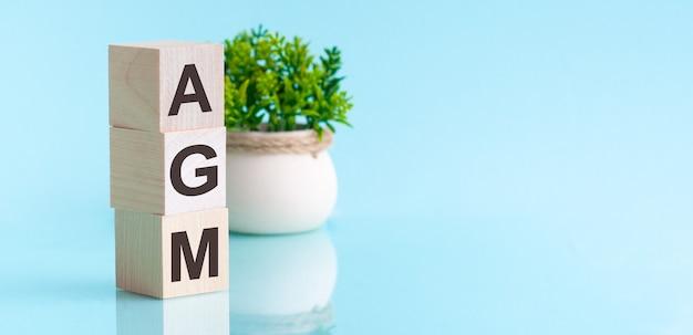 Agm - annual general meeting - acronimo su cubi di legno su backround blu. concetto di affari.
