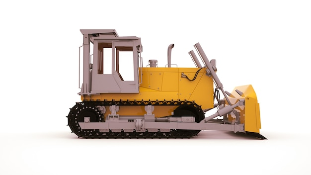 Macchine agricole, grande tarktor giallo con benna e cingoli. moderna tecnologia agricola, illustrazione 3d. vista laterale.