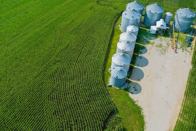 Stoccaggio prodotti agricoli con elevatore agro su silos argento per lavorazione asciugatura pulitura vista panoramica