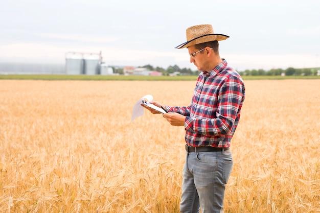 Concetto di agricoltura e raccolta. germogli di grano in mano di un contadino. agronomo che scrive su un documento il piano di sviluppo del grano.