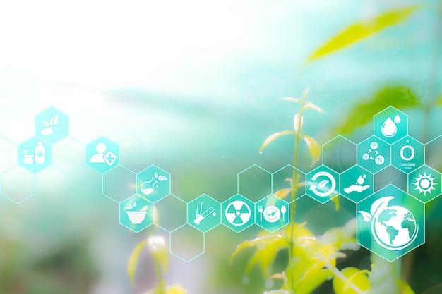 Agricoltura e tecnologia concetto astratto icone virtuali futuristiche ai con energia sostenibile