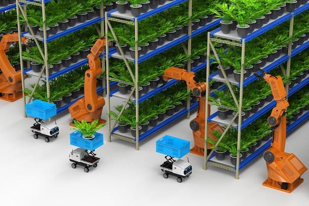 Concetto di tecnologia agricola con braccio robotico di rendering 3d in serra