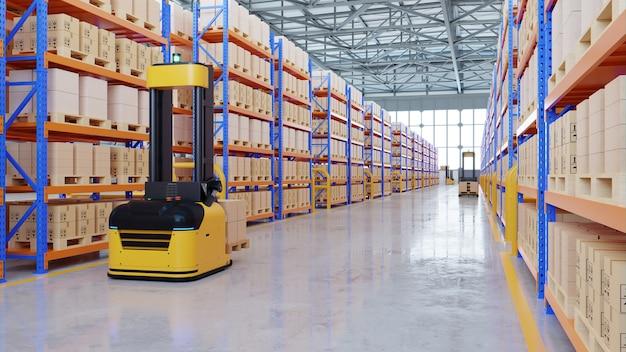 Carrelli elevatori a forche agv - trasporto di più con sicurezza in magazzino, rendering 3d