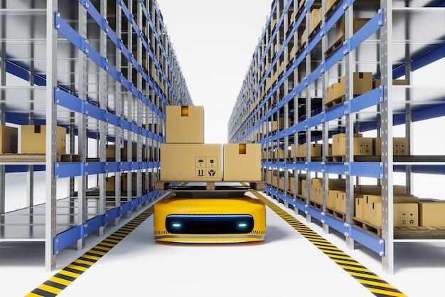 Robot agv al lavoro in magazzino, rendering illustrazioni 3d