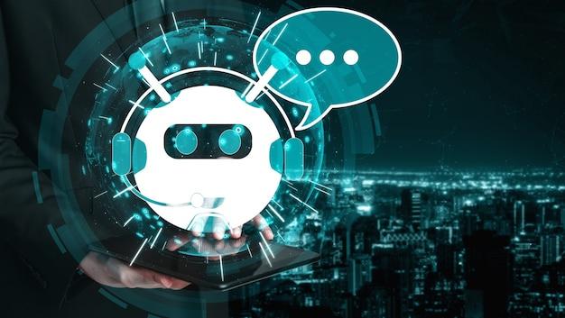 Concetto di applicazione del servizio clienti digitale intelligente ai chatbot.