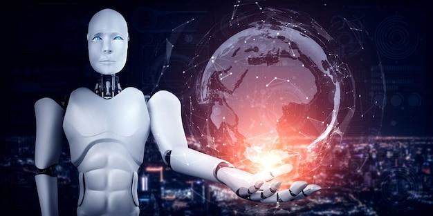 Il robot umanoide ai che tiene lo schermo dell'ologramma mostra il concetto di comunicazione globale