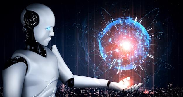 Lo schermo ologramma con robot umanoide ai mostra il concetto di comunicazione globale