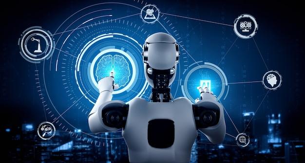 Robot umanoide ai che tiene lo schermo dell'ologramma