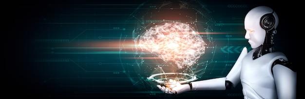 Robot umanoide ai che tiene in mano uno schermo ologramma virtuale che mostra il concetto di cervello ai