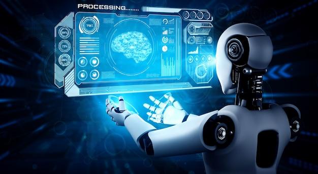 Robot umanoide ai che tiene lo schermo ologramma virtuale che mostra il concetto di cervello ai