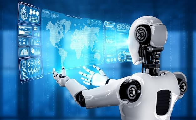 Robot umanoide ai che tiene lo schermo ologramma virtuale che mostra il concetto di big data