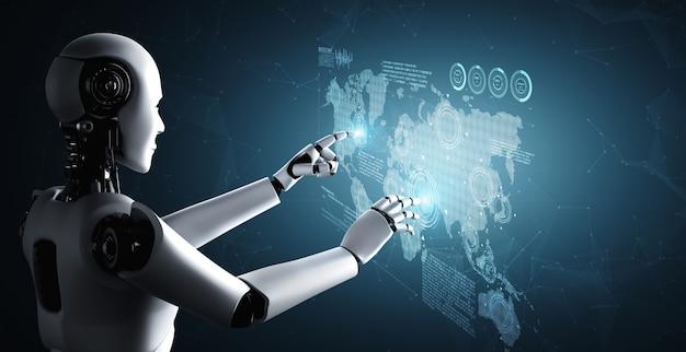 Il robot umanoide ai che tocca lo schermo dell'ologramma mostra il concetto di comunicazione globale