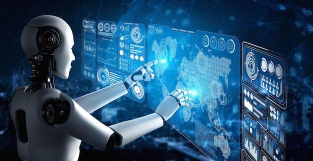 Robot umanoide ai che tocca lo schermo dell'ologramma virtuale che mostra il concetto di big data