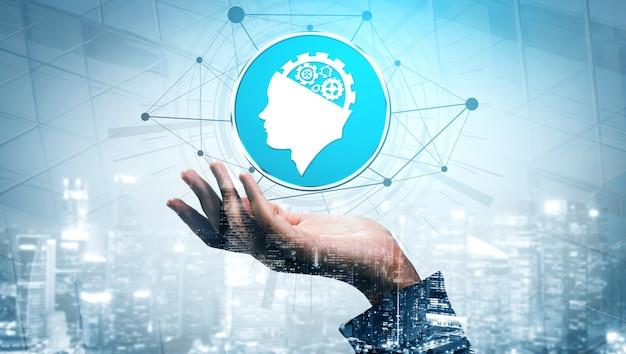 Concetto di intelligenza artificiale e apprendimento ai - interfaccia grafica a icone che mostra computer, pensiero macchina e intelligenza artificiale ai di dispositivi robotici digitali.