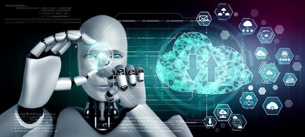 Robot ai che utilizza la tecnologia del cloud computing per archiviare i dati su un server online. concetto futuristico di archiviazione delle informazioni nel cloud analizzato dal processo di apprendimento automatico. illustrazione rendering 3d.