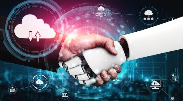 Robot ai che utilizza la tecnologia del cloud computing per archiviare i dati sul server online