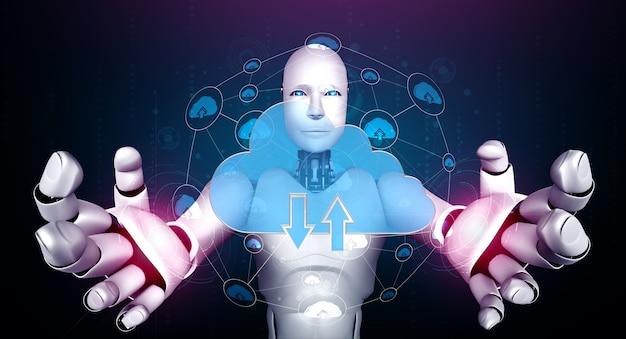 Robot ai che utilizza la tecnologia del cloud computing per archiviare i dati sul server online.